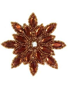 "XR32 Bronze Snowflake Jewel Beaded  Applique 3"""
