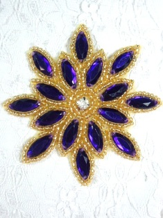 0348 Purple Gold Snowflake Jewel Beaded Hair Bow / Brooch / Applique 3""