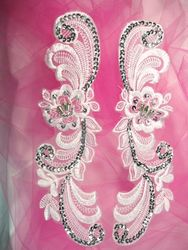 """0352  Silver Venice Lace Mirror Pair Sequin Beaded Appliques 10"""""""