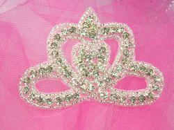 "0354  Royal Crown Genuine Rhinestone Beaded Applique 3"""