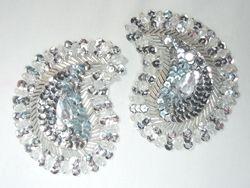 "0361  Silver Paisley Mirror Pair Beaded Sequin Applique 3.25"""