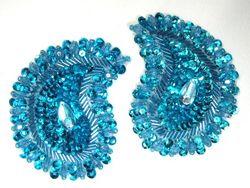 "0361  Turquoise Paisley Mirror Pair Beaded Sequin Applique 3.25"""