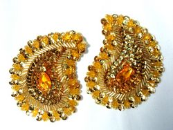 """0361  Gold Paisley Mirror Pair Beaded Sequin Appliques 3.25"""""""