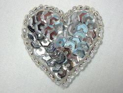 """0362  Silver Heart Beaded Sequin Applique 1"""" +"""