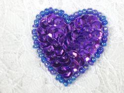 """0362  Purple Heart Beaded Sequin Applique 1"""" +"""