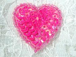 """0362  Hot Neon Pink Heart Beaded Sequin Applique 1"""" +"""