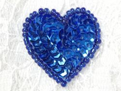 "0362  Royal Blue Heart Beaded Sequin Applique 1"" +"
