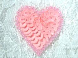 """0362  Pink Pastel Heart Beaded Sequin Applique 1"""" +"""