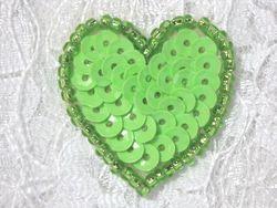 """0362  Neon Green Heart Beaded Sequin Applique 1"""" +"""
