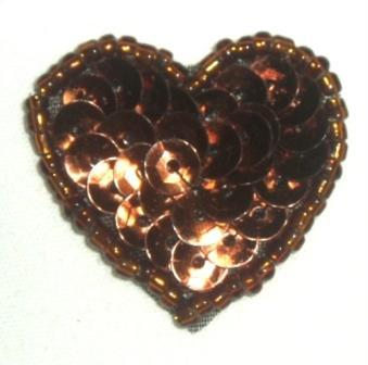 """0362  Bronze Heart Beaded Sequin Applique 1"""" +"""