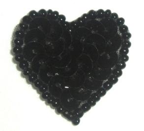 """0362  Black Heart Beaded Sequin Applique 1"""" +"""
