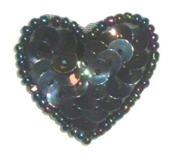 "0362  Black AB Heart Beaded Sequin Applique 1"" +"