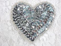 """0363  Silver Heart Beaded Sequin Applique 2"""""""