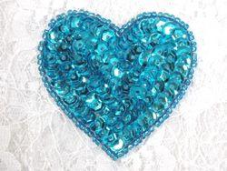 "0363  Turquoise Heart Beaded Sequin Applique 2"""