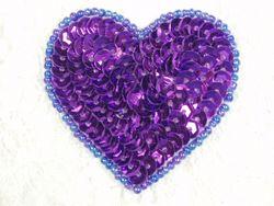 """0363  Purple Heart Beaded Sequin Applique 2"""""""
