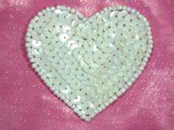 "0363  White Heart Beaded Sequin Applique 2"""