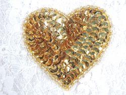 "0363  Gold Heart Beaded Sequin Applique 2"""