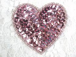 "0363  Mauve Rose Heart Beaded Sequin Applique 2"""