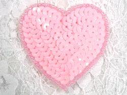 """0363  Pink Heart Beaded Sequin Applique 2"""""""