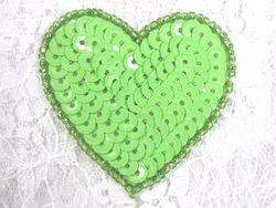 """0363  Neon Green Heart Beaded Sequin Applique 2"""""""