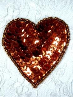 """0363  Bronze Heart Beaded Sequin Applique 2"""""""