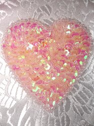 """0363  Pink Crystal AB Heart Beaded Sequin Applique 2"""""""