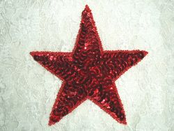 "0365  Red Star Beaded Sequin Applique  4"""