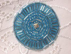 "0367 Turquoise Round Circle Beaded Applique 1.5"""