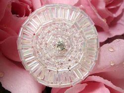 "0367 Crystal Circle Round Rhinestone Beaded Applique 1.5"""