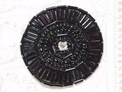"0367 Black Circle Beaded Applique 1.5"""