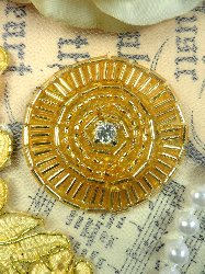 0367 Round Circle Crystal Clear Rhinestone Gold Beaded Applique 1.5""