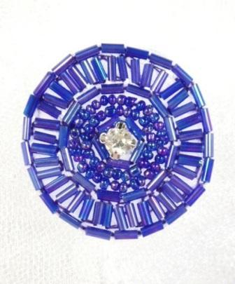 "0367 Purple AB Circle Round Rhinestone Beaded Applique 1.5"""