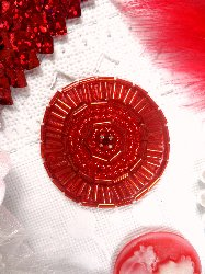 """0367 Red Circle Round Rhinestone Red Beaded Applique 1.5"""""""