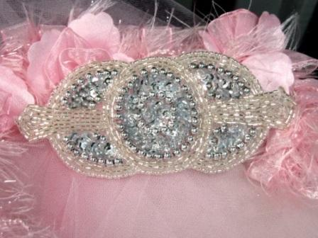 HB1930  Silver Beaded Sequin Rhinestone Hair bow