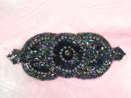 0369 Black AB Triple Circle Sequin Beaded Applique