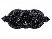 Sequin Applique Black Triple Circle Beaded Motif Sewing Clothing Patch or Crafts DIY Hair Bow (0369-bk)