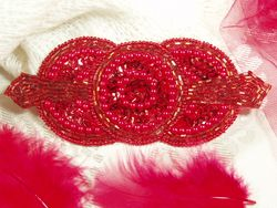 0369 Red Triple Circle Sequin Beaded Applique