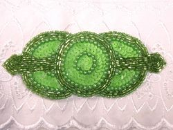 0369 Lime Green Triple Circle Sequin Beaded Applique