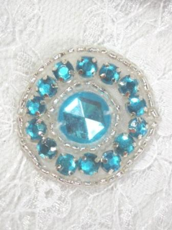 ACT/0379 Turquoise Silver Rhinestone Round Beaded Applique 1.25""