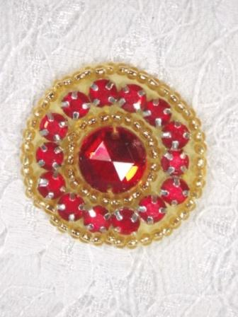 ACT/0379  Red Gold Rhinestone Round Beaded Applique 1.25""