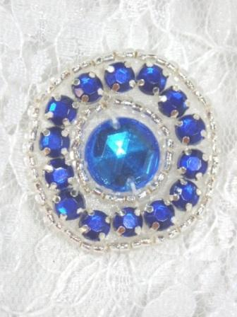 ACT/0379   Blue Silver Rhinestone Round Beaded Applique 1.25""