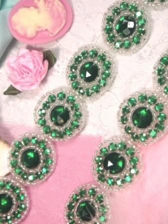 """0379  Green Silver Round Beaded Appliques or Trim 1.25"""""""