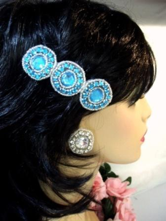 HB0379  Turquoise Jewel Silver Beaded Rhinestone Hair Bow 3.75""