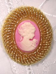 0383  Gold Pink Victorian Cameo Beaded Applique 2""