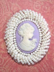 0383  Ivory Lavender Victorian Cameo Beaded Applique 2""
