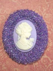 0383  Lavender Victorian Cameo Beaded Applique 2""
