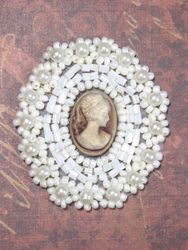 0384  Ivory  Beige Victorian Cameo Beaded Applique 1.75""