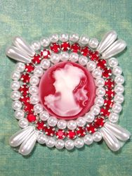 0385 White & Red Rhinestone Cameo Beaded Applique 2.25""