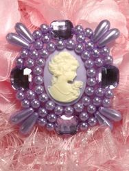 0386  Lavender Jewel Pearl Cameo Beaded Applique 2.75""