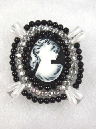 0388  Black Beaded Clear Rhinestone Cameo Applique 2.75""